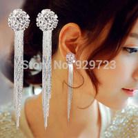 Long design bride rhinestone tassel earrings Luxury Wedding Bridal Jewelry Accessories Long Big Crystal Earring For Brides