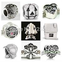 100pcs/lot DIY Loose beads 925 silver Breast Cancer Charm Awareness Bead Topaz Crystal Euro Bead Gift    HOT0036
