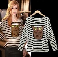 totoro new 2014 fashion stripe basic shirt cotton owl animal pattern printed long-sleeve t-shirt women t shirt regata feminina