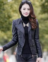 2014 new women show thin PU leather jacket