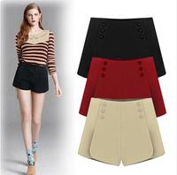 Free Shipping 2014 New Women's Autumn Winter Fashion Simple Wild Woolen Pants Shorts women casual shorts feminino black red