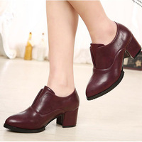 2014 Autumn European fashion women's leather shoes square thick heels pumps less platform high heels shoes Russia style