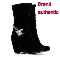 Autumn Boots Botas Hot Sale Women Ms. Counter Genuine Tall Nubuck High-heeled Women's 2014 Winter New Matte High Import Fabrics