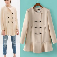 New Fashion Winter Women casacos femininos Ruffled Bottom Double Breasted Coats Trench Casual Ladies Warm Wool Outerwear PS0568