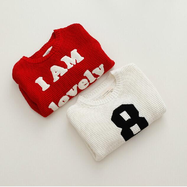 Free Shipping 2014 New Girls Boys Sweater Coat Gilr's Autumn & Winter Letter Fleece Render Cute Girl Sweater(China (Mainland))