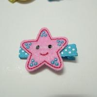 1pc Pink Stars Patttern New Born Baby Toddler Girl Polyester Felt Snap Clips Min. Combine order $10