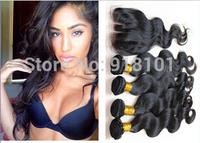Peruvian Virgin Hair 4 pcs lot Body Wave 3 Part Lace Closure With 3pcs Bundles Hair  Weft Extension