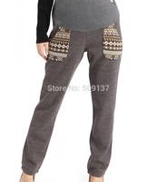 Autumn, Winter Maternity Clothes Pregnant Women/ Women's Plus Size Fashion Patchwork Cotton Warm Pants/ Trousers B218