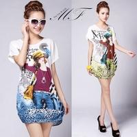 Plus Size Brand 2014 Frozen Print Casual Short Dresses Bat-Wing Women Dresses vestido de festa
