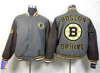 Free shipping wholesale hockey jacket Boston Bruins grey jacket
