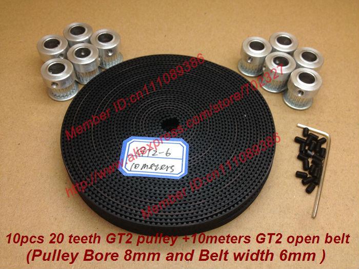 Venda 10pcs 20 dentes Diâmetro 8 milímetros GT2 Cronometragem largura Pulley + 10Meters GT2 correia dentada 6 milimetros para MakerBot RepRap Prusa impressora 3D(China (Mainland))