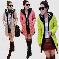 Quality New Fashion 2014 Winter jackets snow wear Korea patchwork women Hooded Jacket Coat Down Parka khaki green pink red black