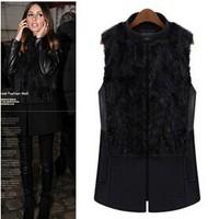 New Warm Winter Women Sleeveless Jacket Fashion Soft Fake Fur Vest Covered Button Stand Collar Slim Plush Waistcoat L-5XL