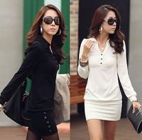 Women Winter Dress 2014 New Femininas Vestido de festa Lapel Long-Sleeve Casual Dresses Plus Size Women Clothing black white