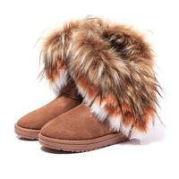 Autumn Winter Women Snow Ankle Boots Warm Faux Fox Fur Tassel Shoes botas de neve bota masculina 2014   #1A04