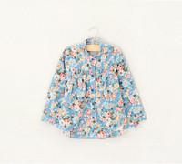 Whoelsale New 2014 Spring Autumn Girls Floral Blouses Denim Full Mandarin Collar Kids Shirts Lolita Children's Cloting Lot
