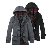 New 2014 Men'S Woolen Coat Winter Long Type Horn Button Hooded Windbreaker Jacket Coat Thickening Clothing Men's Jackets XG-166