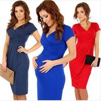 Fashion maternity dr for ess V-neck slim hip sexy maternity elastic one-piece dress