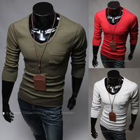 Free Shipping New Arrival Men Fashion Casual Long Sleeve T-shirt Simple Style color Army green red  grey  Dark grey black white