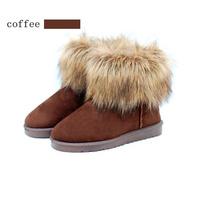 winter boots  Women Snow Ankle Boots Warm Faux Fox Fur Tassel Shoes botas de neve bota masculina 2014   #1A03