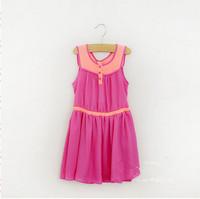 038 New 2014 Summer Girls Dresses Pink Patchwork Voile Lolita Pirncess Children's Clothing Lot