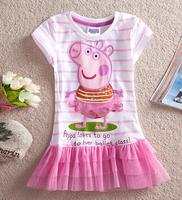 Free shipping 2014 Peppa pig girl's dress baby girls summer dresses children clothing Kids cartoon wear child girl clothes D30