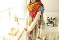 Free shipping  wholesale Winter Korean wild plaid unisex warm scarf shawl fringed models