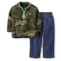 Original Carter's Baby Boys Spring Autumn 2-Piece Camo Fleece Pullover & Denim Pant Set, Carters Clothing Set, Freeshipping