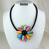 2014 multicolour shell flower necklace short design fashion elegant chain