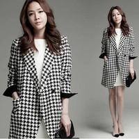 2014 new Women  houndstooth coat long section woolen coat