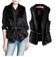 2014 Design Women's Short Fur Vest Soft Warm Wool Spliced Plush Simulation Fox Fur Waistcoat Female Sleeveless Jackets With Belt