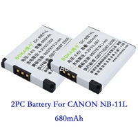 2 PC 3.6V 680mAh NB-11L rechargeable Battery NB-11LH NB11L Camera batteries for Canon PowerShot A2300 A2500 A2550 A2600