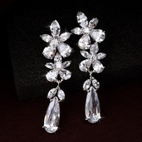 Free shipping hot popular , Flowers dew AAA zircon earrings ,With Austrian Crystal Stellux Zirconia 18K Real Gold Plated