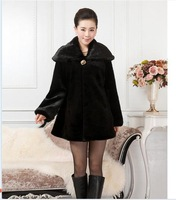 Fur coats 2014 new fall and winter clothes women aged leather imitation mink coat windbreaker jacket grass  #290114