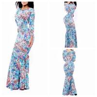 2014 New Fashion Mermaid Women Summer Dress Party Tribal Print Bodycon Bandage Floor-Length Long Dress