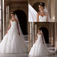 Luxury Sweetheart Applique Beaded Long Tail Wedding Dresses Vintage Backless Bridal Gowns 2014 Custom Made