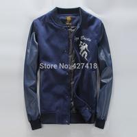new 2014 fashion Japanese uniform lovers design embroidery HARAJUKU PU leahte patchwork jacket men's clothing free shipping