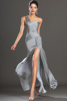 Sweetheart A-Line One-Shoulder Gray Taffeta Ruched Special Occasion Open Back Long Elegant Prom Dresses 2014