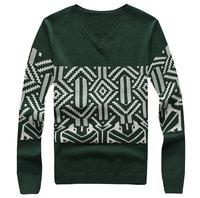 New arrival autumn winter V-neck men pullover slim hot knitted men's sweater