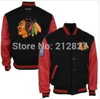 Free shipping wholesale cheap jacket Chicago Blackhawks black stitched jacket