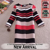 Multicolor Striped O-Neck Loose Long Thick Autumn and Winter Trench Coat For Women 2014 Khaki Red Green Windbreaker
