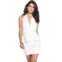 New Sexy fashion women's ruffle sleeveless halter V-neck Backless slim Tube 21092 White one-piece dress Part Evening Wear M/L