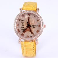 Watches women fashion luxury watch quartz analog leather imitation diamond jewelry casual lady watch tower eiffel dropship