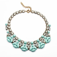 2014 Fall Designer Mint Beads Clear Crystal Bib Statement Necklace