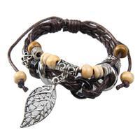 Fashion Retro Leather Beads Handcrafts Leafs Pattern Unisex Bracelet #gib