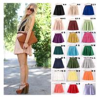 17color high waist women skirts summer skater ruffles fluffy mini skirt short pleated skirt double layer ball gown chiffon skirt