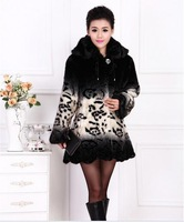 Free freight middle-aged women imitation mink fur winter coat in middle-aged women mom Long Jacket #23015