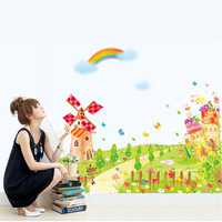 1 Set 100*80cm(39*31inches) Cartoon Windmill Wall Decals For Children's Room/ Kids Bedroom Wall Stickers On The Wall Home Decor