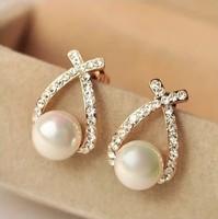 Fashion Pearl Drop Earring Rhinestone Cross Wedding Bride Earrings For Women Gift