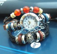 NEW 2014 Infinity Watch Alloy Bracelet Fashion Jewelry Trendy Bead Bracelets Charm Watch Leather Hand Wear